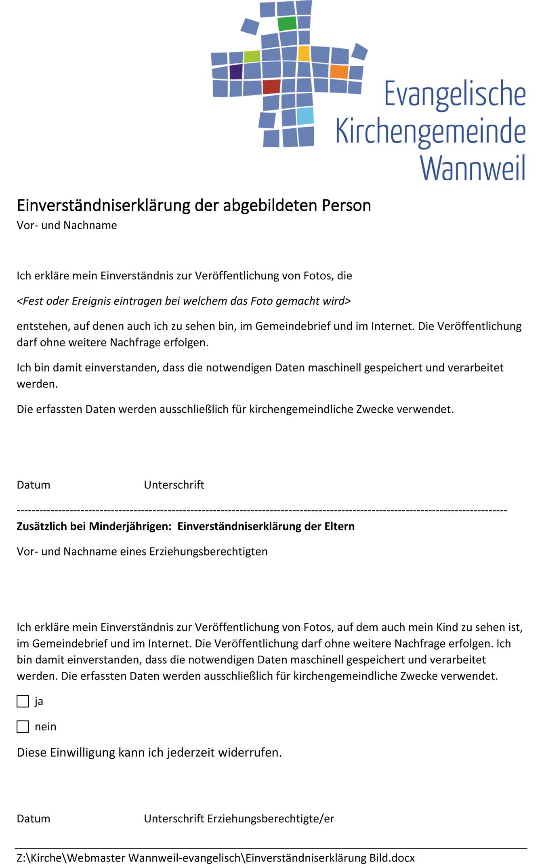 Einverstandniserklarung Zur Veroffentlichung Von Fotos Evangelische Kirchengemeinde Wannweil